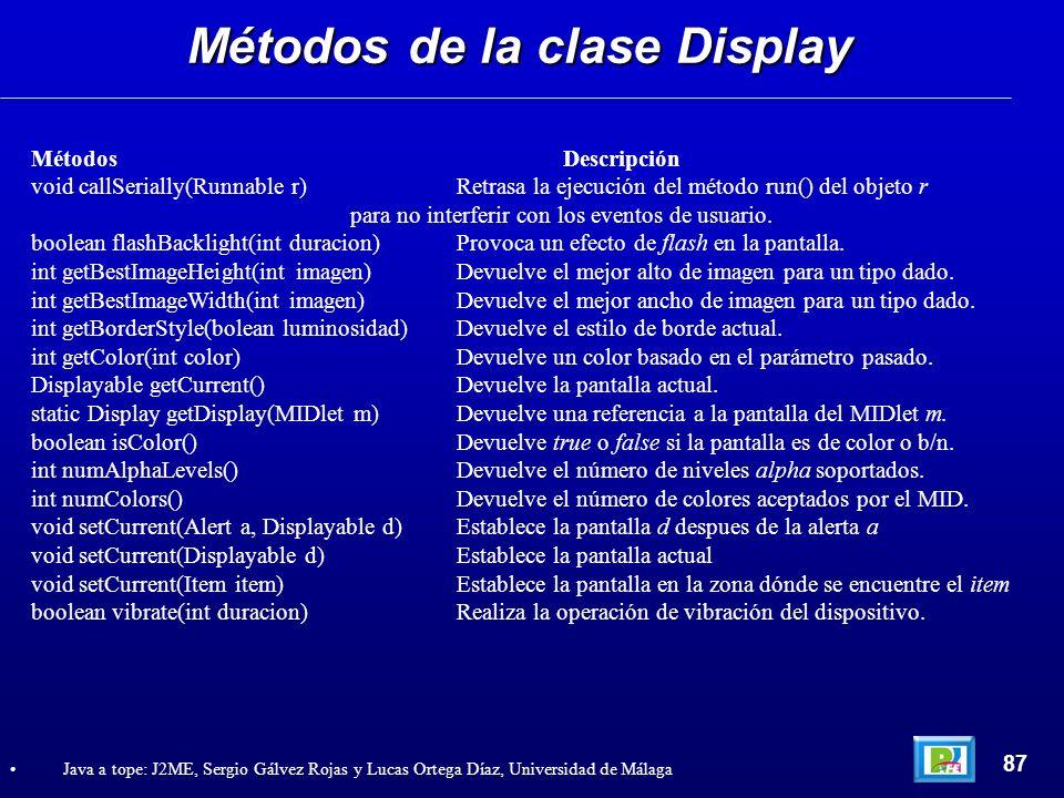 Métodos de la clase Display 87 Java a tope: J2ME, Sergio Gálvez Rojas y Lucas Ortega Díaz, Universidad de Málaga Métodos Descripción void callSerially