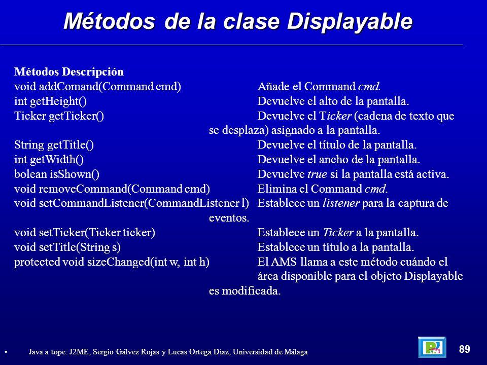 Métodos de la clase Displayable 89 Java a tope: J2ME, Sergio Gálvez Rojas y Lucas Ortega Díaz, Universidad de Málaga Métodos Descripción void addComan