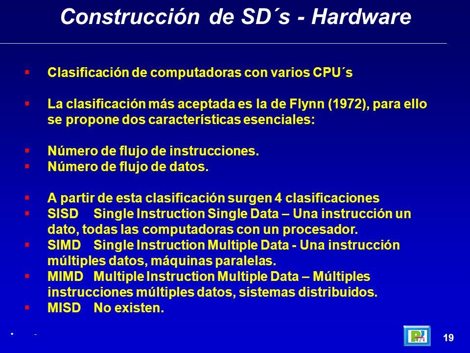 19 Construcción de SD´s - Hardware - Clasificación de computadoras con varios CPU´s La clasificación más aceptada es la de Flynn (1972), para ello se