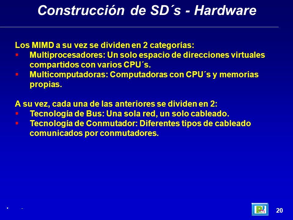 20 Construcción de SD´s - Hardware - Los MIMD a su vez se dividen en 2 categorías: Multiprocesadores: Un solo espacio de direcciones virtuales compart