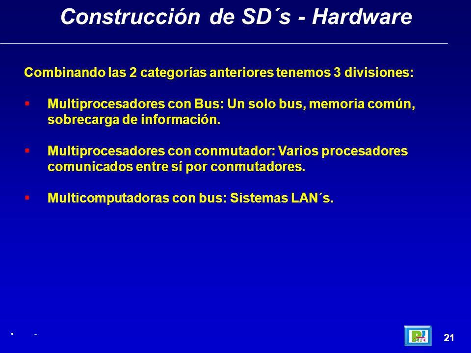 21 Construcción de SD´s - Hardware - Combinando las 2 categorías anteriores tenemos 3 divisiones: Multiprocesadores con Bus: Un solo bus, memoria comú
