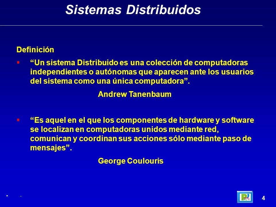 4 Sistemas Distribuidos - Definición Un sistema Distribuido es una colección de computadoras independientes o autónomas que aparecen ante los usuarios
