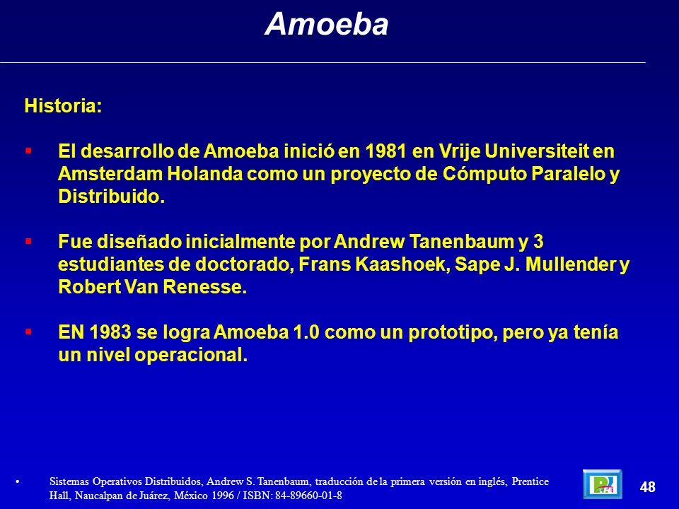 Historia: El desarrollo de Amoeba inició en 1981 en Vrije Universiteit en Amsterdam Holanda como un proyecto de Cómputo Paralelo y Distribuido. Fue di