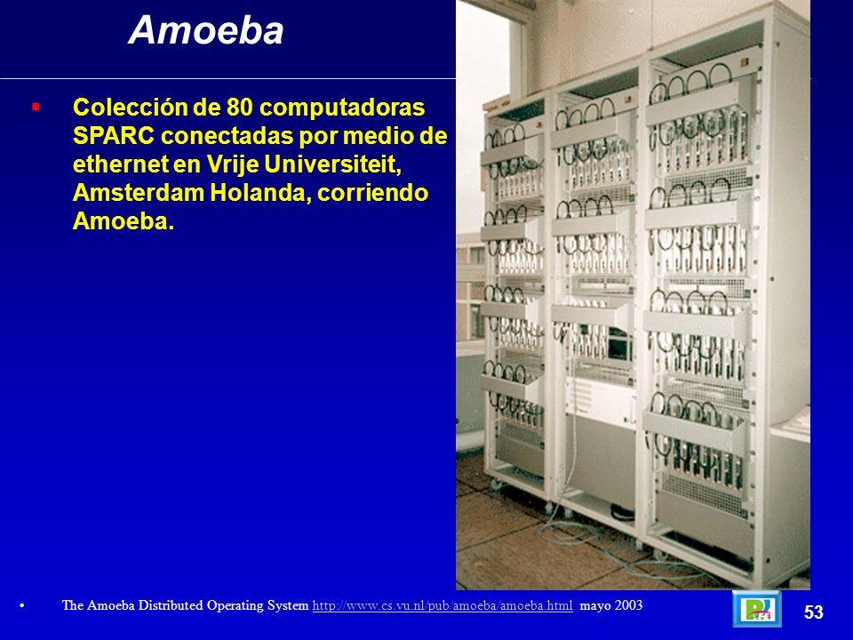 Colección de 80 computadoras SPARC conectadas por medio de ethernet en Vrije Universiteit, Amsterdam Holanda, corriendo Amoeba. 53 Amoeba The Amoeba D