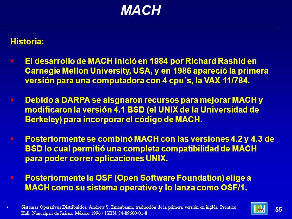 Historia: El desarrollo de MACH inició en 1984 por Richard Rashid en Carnegie Mellon University, USA, y en 1986 apareció la primera versión para una c