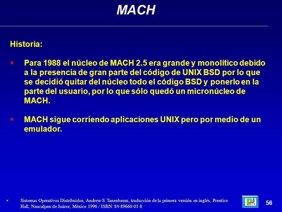 Historia: Para 1988 el núcleo de MACH 2.5 era grande y monolítico debido a la presencia de gran parte del código de UNIX BSD por lo que se decidió qui