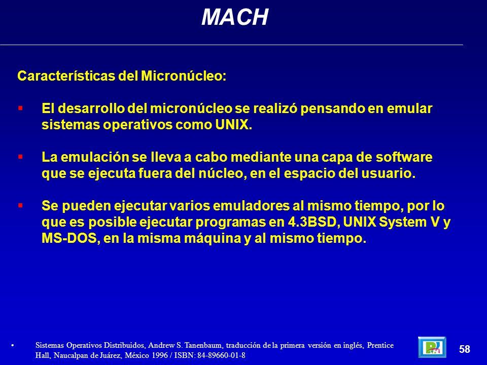 Características del Micronúcleo: El desarrollo del micronúcleo se realizó pensando en emular sistemas operativos como UNIX. La emulación se lleva a ca