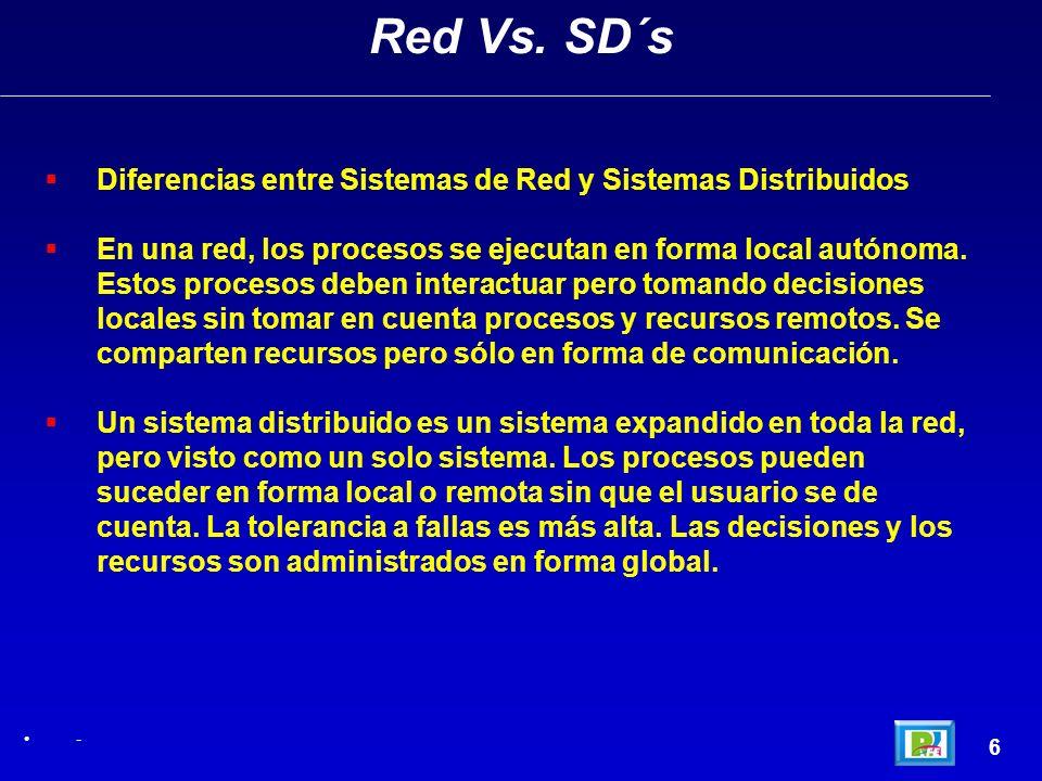 6 Red Vs. SD´s - Diferencias entre Sistemas de Red y Sistemas Distribuidos En una red, los procesos se ejecutan en forma local autónoma. Estos proceso