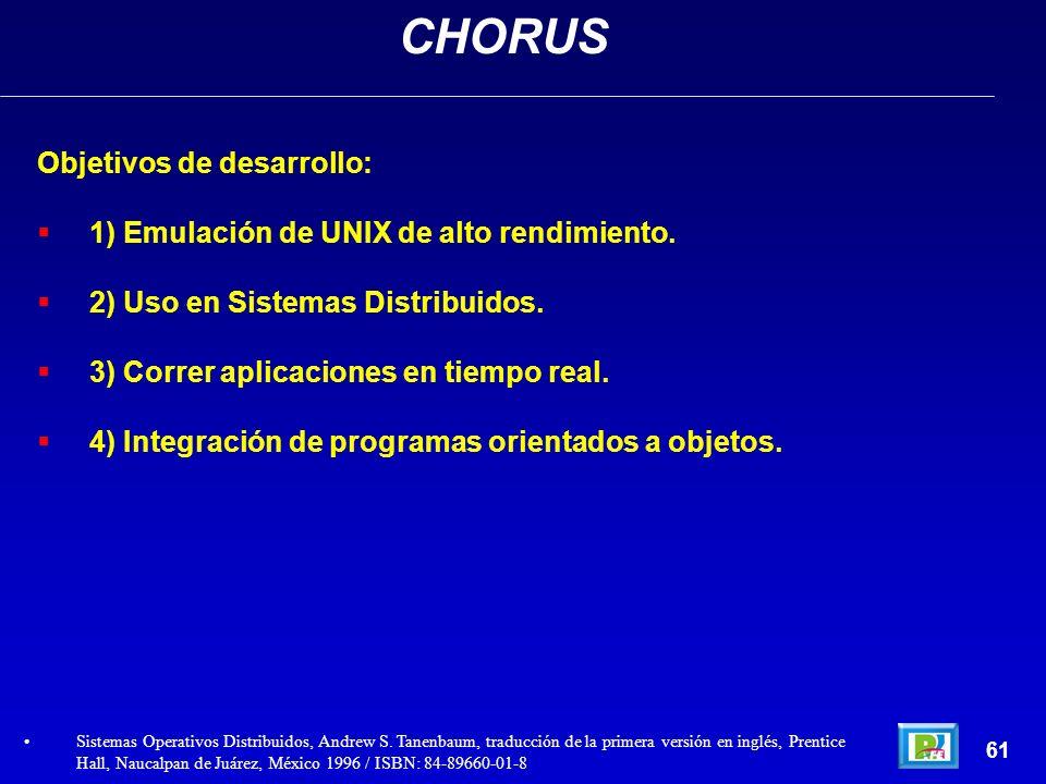 Objetivos de desarrollo: 1) Emulación de UNIX de alto rendimiento. 2) Uso en Sistemas Distribuidos. 3) Correr aplicaciones en tiempo real. 4) Integrac