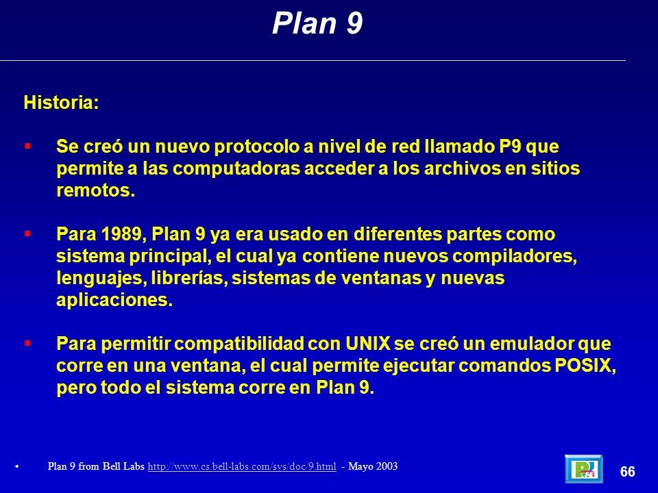 Historia: Se creó un nuevo protocolo a nivel de red llamado P9 que permite a las computadoras acceder a los archivos en sitios remotos. Para 1989, Pla
