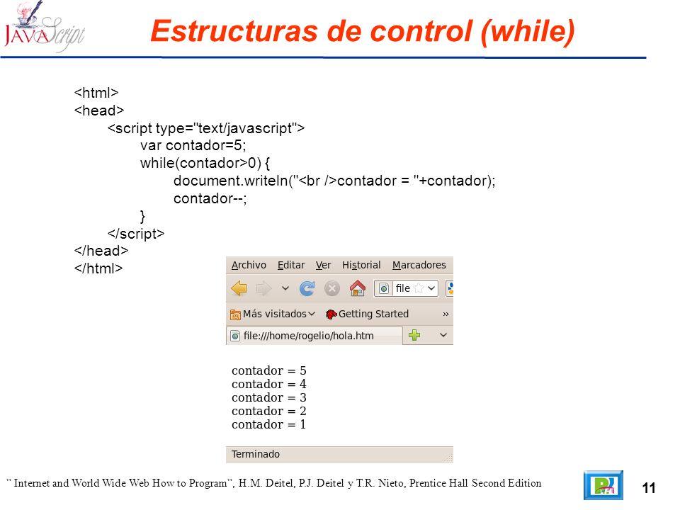 11 Internet and World Wide Web How to Program, H.M. Deitel, P.J. Deitel y T.R. Nieto, Prentice Hall Second Edition Estructuras de control (while) var