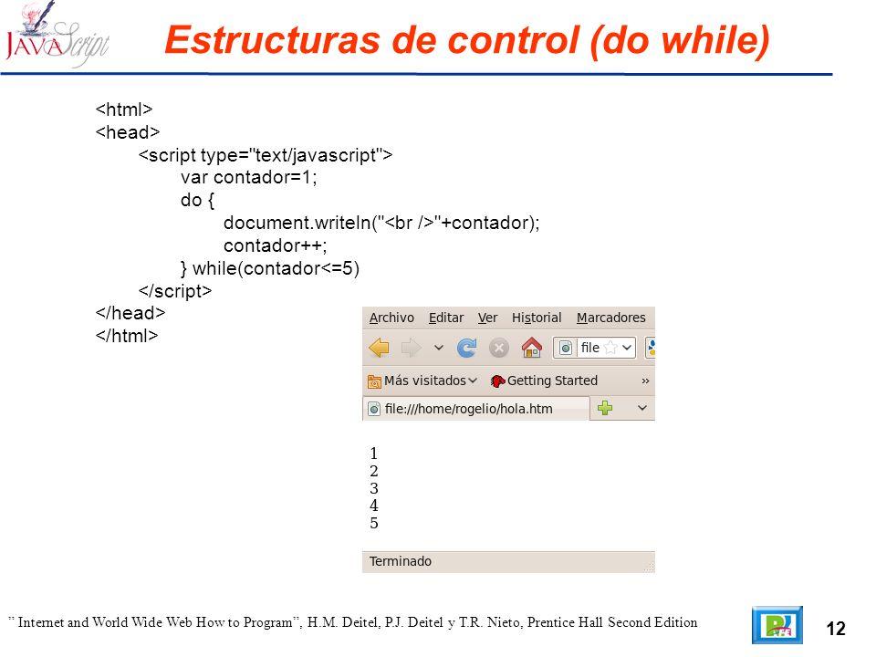 12 Internet and World Wide Web How to Program, H.M. Deitel, P.J. Deitel y T.R. Nieto, Prentice Hall Second Edition Estructuras de control (do while) v