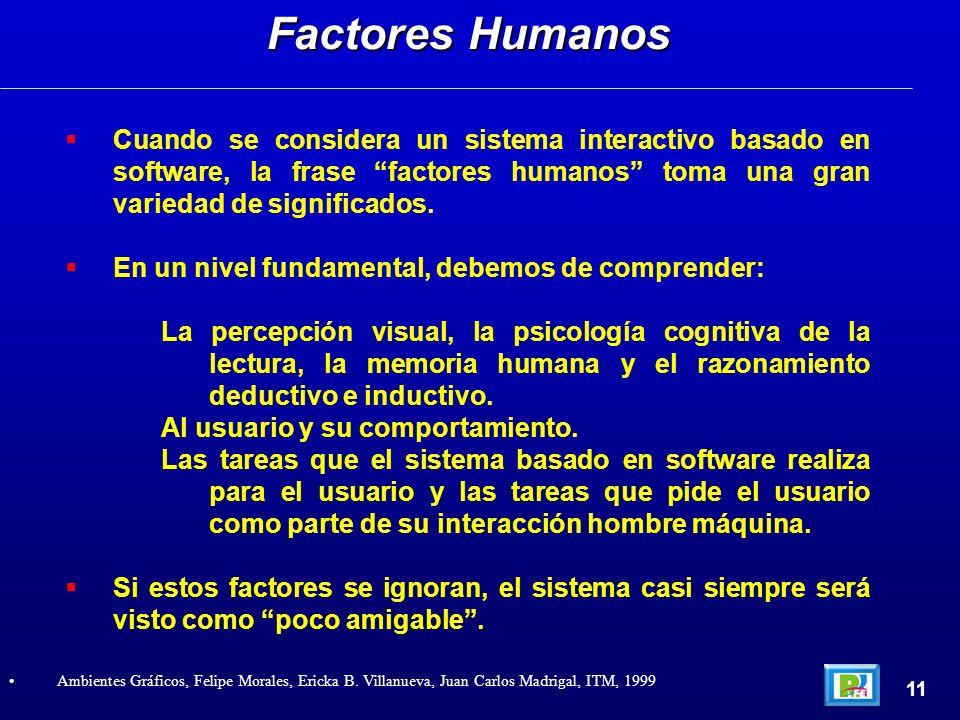 Cuando se considera un sistema interactivo basado en software, la frase factores humanos toma una gran variedad de significados. En un nivel fundament