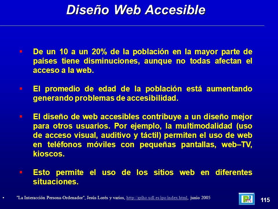 De un 10 a un 20% de la población en la mayor parte de países tiene disminuciones, aunque no todas afectan el acceso a la web. El promedio de edad de