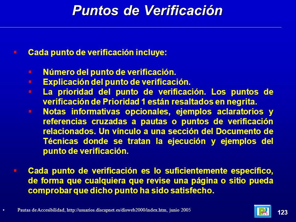 Cada punto de verificación incluye: Número del punto de verificación. Explicación del punto de verificación. La prioridad del punto de verificación. L