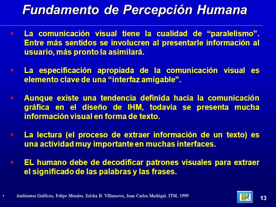 La comunicación visual tiene la cualidad de paralelismo. Entre más sentidos se involucren al presentarle información al usuario, más pronto la asimila