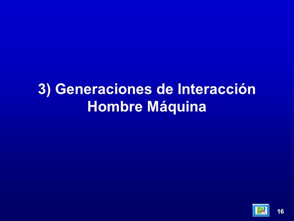 16 3) Generaciones de Interacción Hombre Máquina