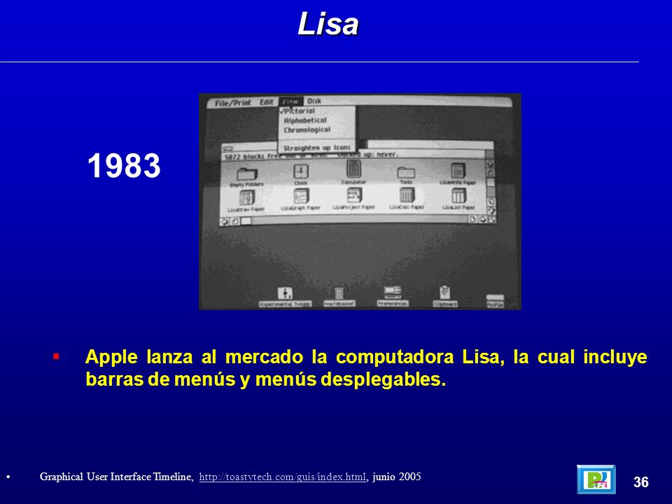Apple lanza al mercado la computadora Lisa, la cual incluye barras de menús y menús desplegables.Lisa 36 Graphical User Interface Timeline, http://toa