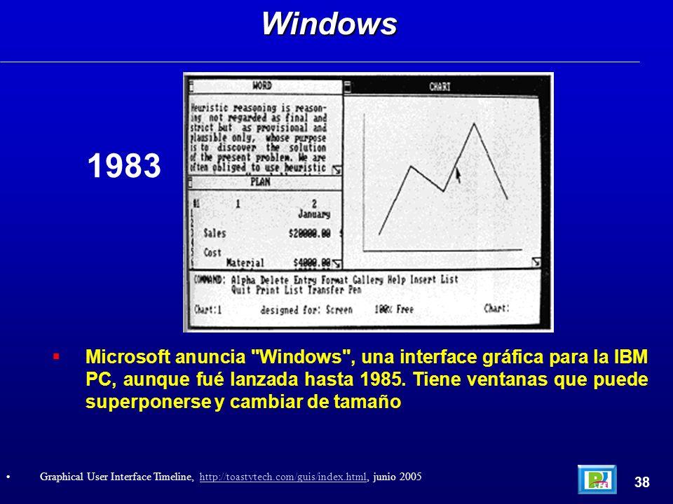 Microsoft anuncia Windows , una interface gráfica para la IBM PC, aunque fué lanzada hasta 1985.