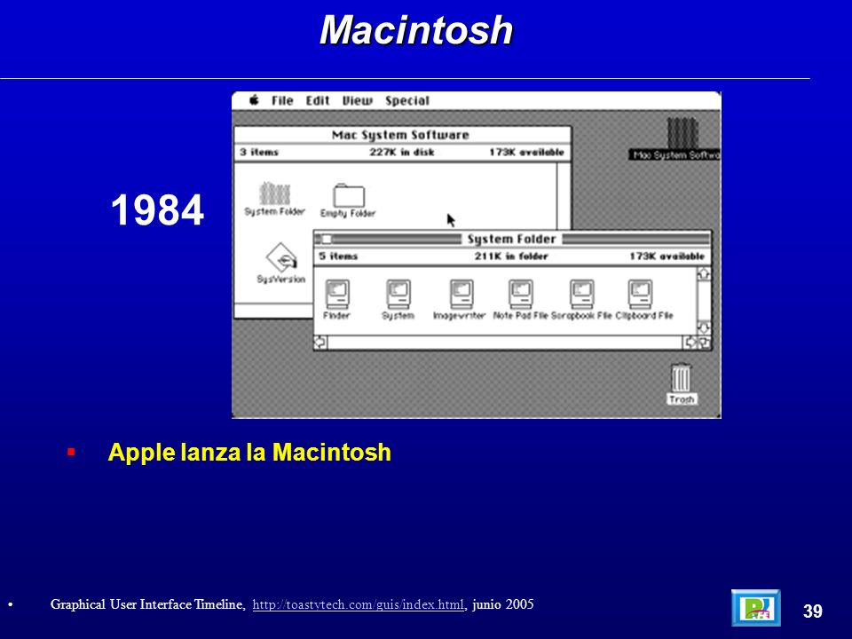 Apple lanza la MacintoshMacintosh 39 Graphical User Interface Timeline, http://toastytech.com/guis/index.html, junio 2005http://toastytech.com/guis/index.html 1984