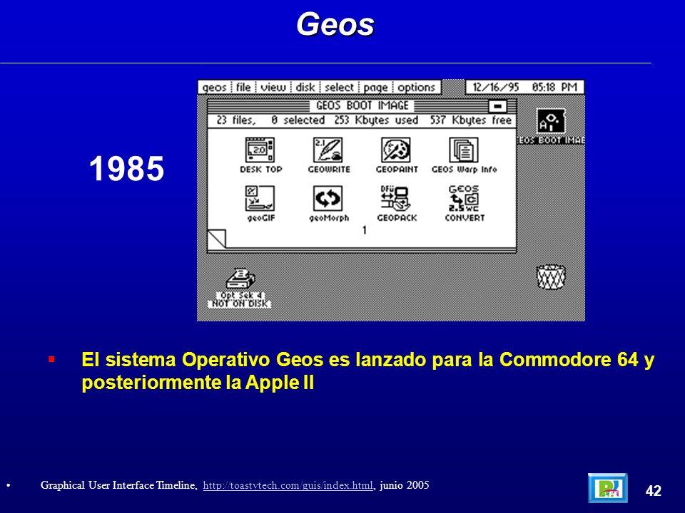 El sistema Operativo Geos es lanzado para la Commodore 64 y posteriormente la Apple IIGeos 42 Graphical User Interface Timeline, http://toastytech.com