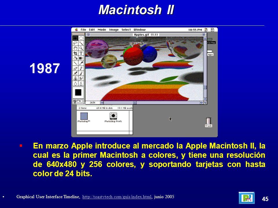 En marzo Apple introduce al mercado la Apple Macintosh II, la cual es la primer Macintosh a colores, y tiene una resolución de 640x480 y 256 colores, y soportando tarjetas con hasta color de 24 bits.