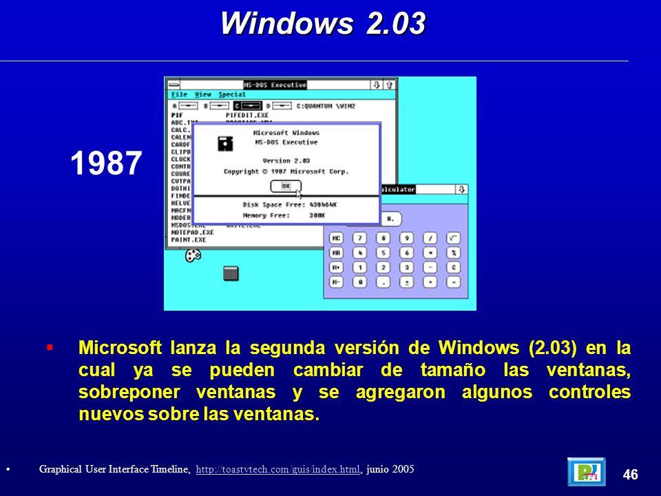Microsoft lanza la segunda versión de Windows (2.03) en la cual ya se pueden cambiar de tamaño las ventanas, sobreponer ventanas y se agregaron algunos controles nuevos sobre las ventanas.