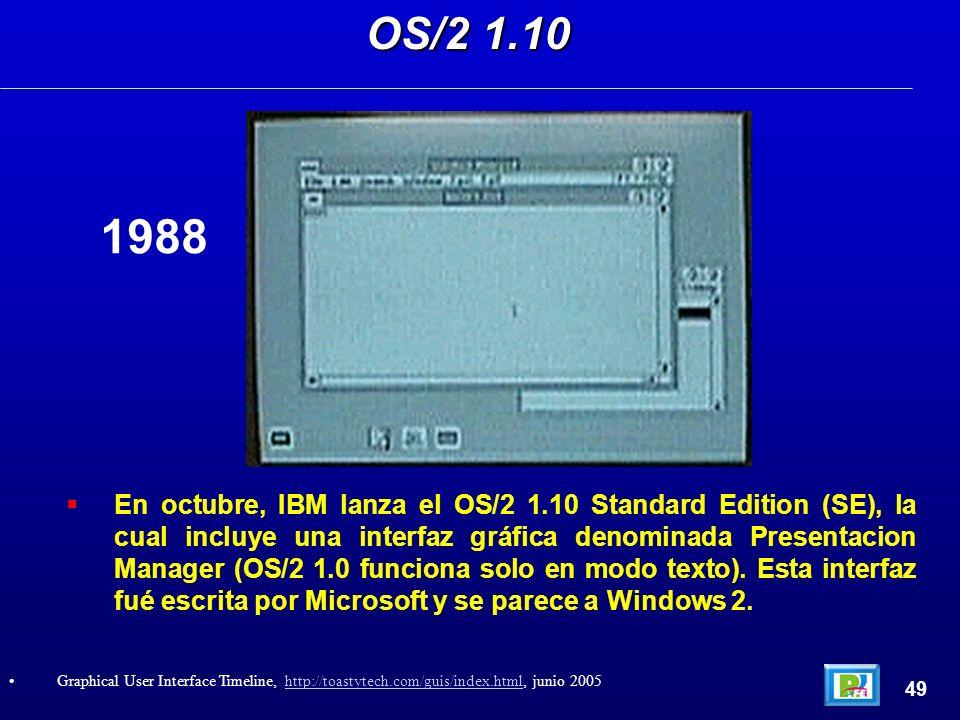 En octubre, IBM lanza el OS/2 1.10 Standard Edition (SE), la cual incluye una interfaz gráfica denominada Presentacion Manager (OS/2 1.0 funciona solo en modo texto).