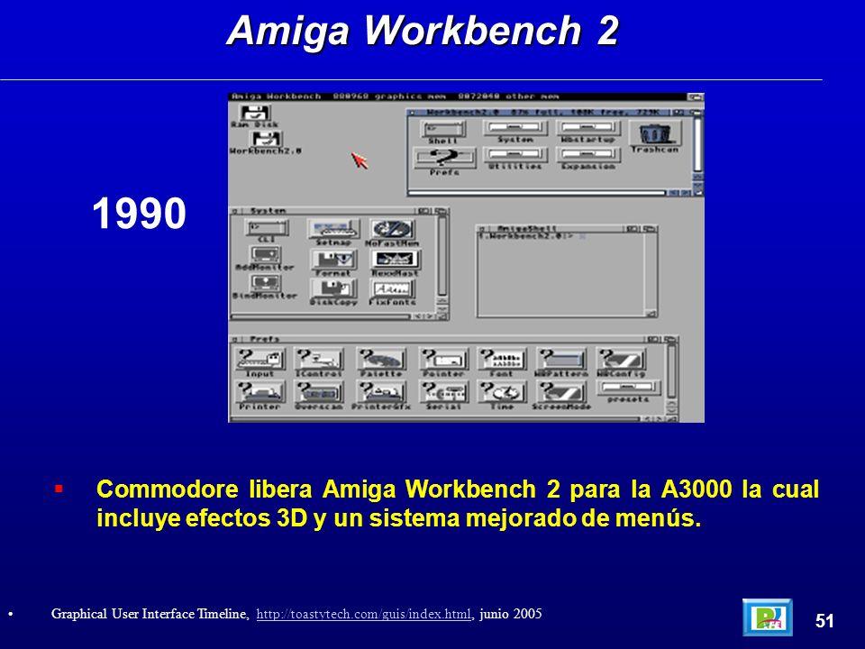 Commodore libera Amiga Workbench 2 para la A3000 la cual incluye efectos 3D y un sistema mejorado de menús. Amiga Workbench 2 51 Graphical User Interf
