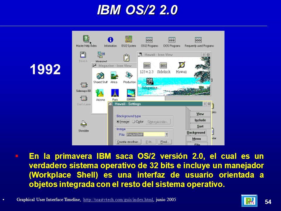 En la primavera IBM saca OS/2 versión 2.0, el cual es un verdadero sistema operativo de 32 bits e incluye un manejador (Workplace Shell) es una interfaz de usuario orientada a objetos integrada con el resto del sistema operativo.