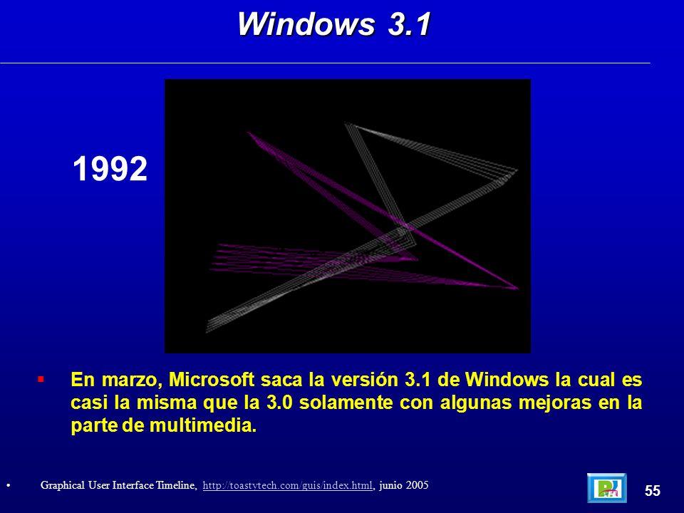 En marzo, Microsoft saca la versión 3.1 de Windows la cual es casi la misma que la 3.0 solamente con algunas mejoras en la parte de multimedia. Window