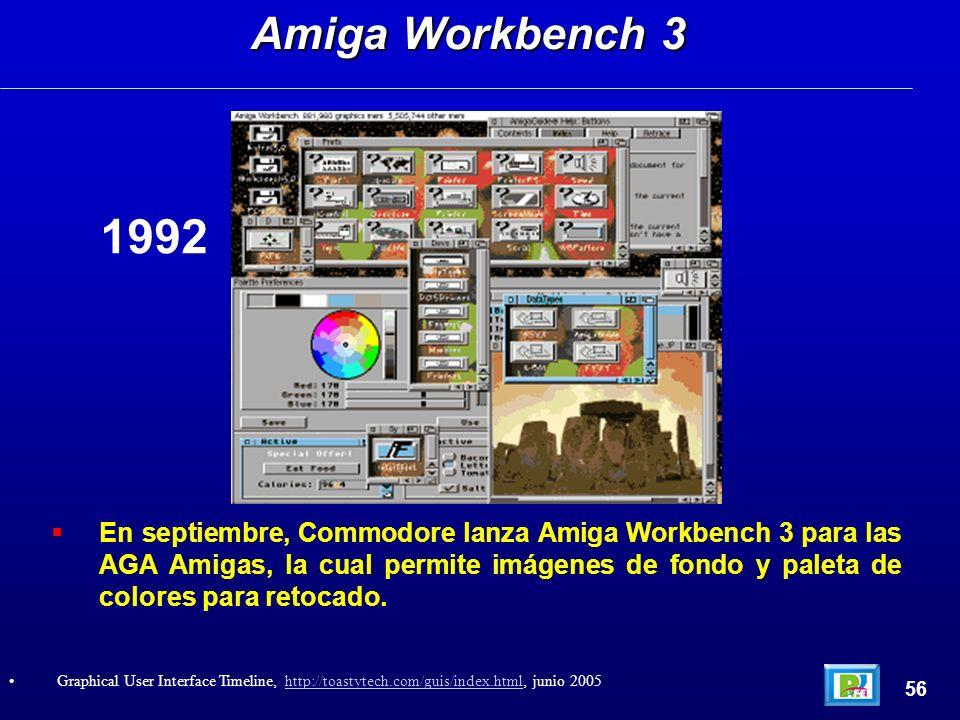 En septiembre, Commodore lanza Amiga Workbench 3 para las AGA Amigas, la cual permite imágenes de fondo y paleta de colores para retocado. Amiga Workb