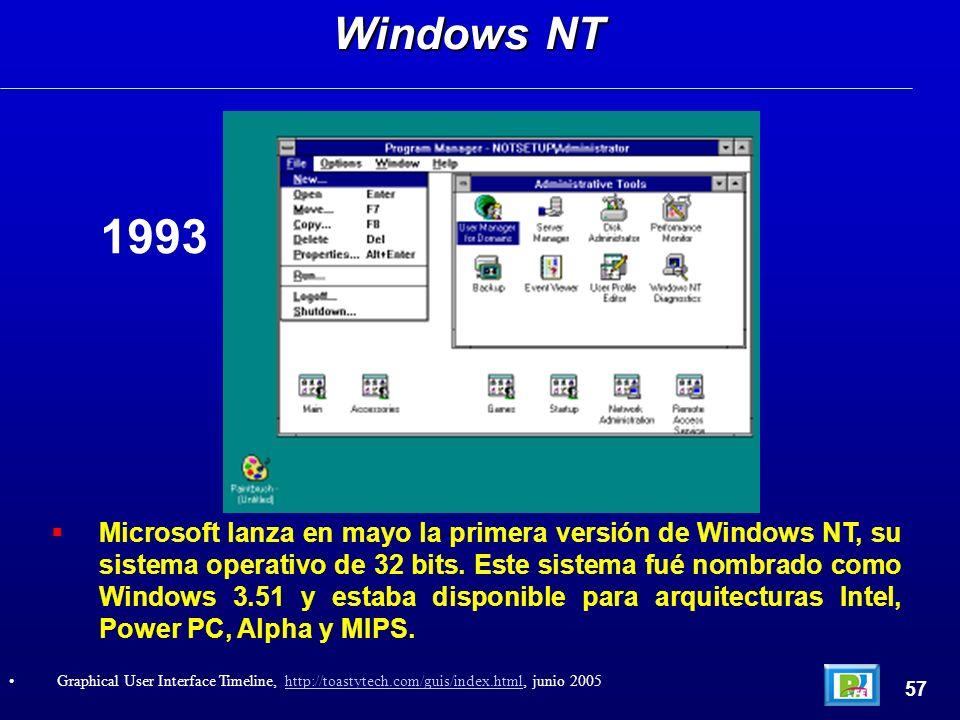 Microsoft lanza en mayo la primera versión de Windows NT, su sistema operativo de 32 bits. Este sistema fué nombrado como Windows 3.51 y estaba dispon