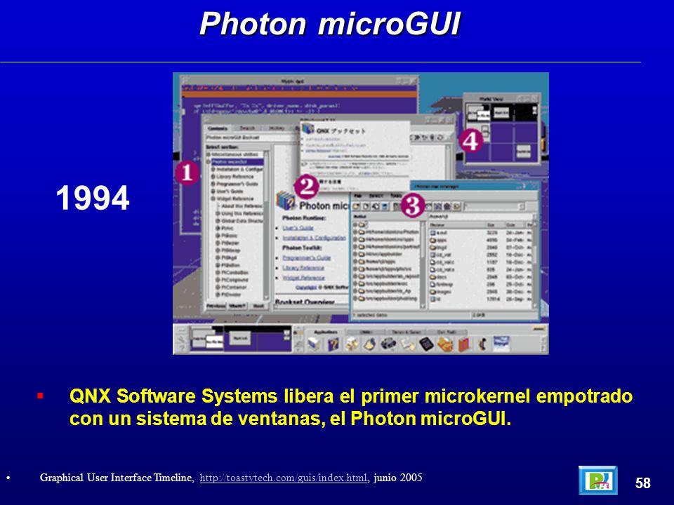 QNX Software Systems libera el primer microkernel empotrado con un sistema de ventanas, el Photon microGUI. Photon microGUI 58 Graphical User Interfac