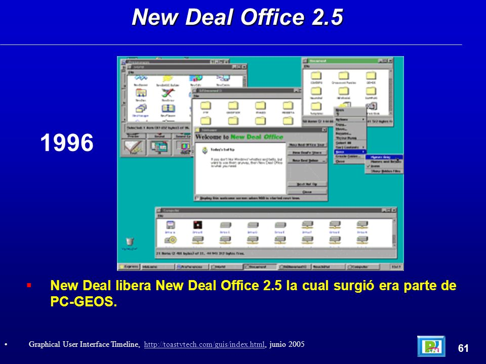 New Deal libera New Deal Office 2.5 la cual surgió era parte de PC-GEOS. New Deal Office 2.5 61 Graphical User Interface Timeline, http://toastytech.c