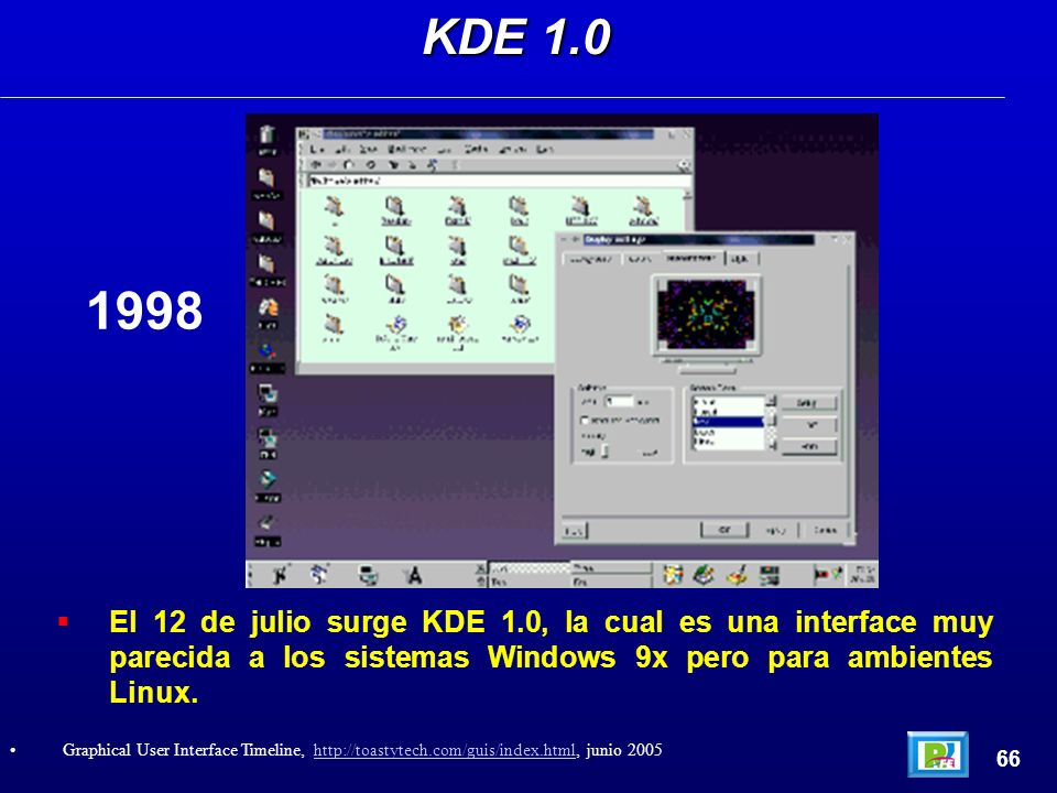 El 12 de julio surge KDE 1.0, la cual es una interface muy parecida a los sistemas Windows 9x pero para ambientes Linux. KDE 1.0 66 Graphical User Int