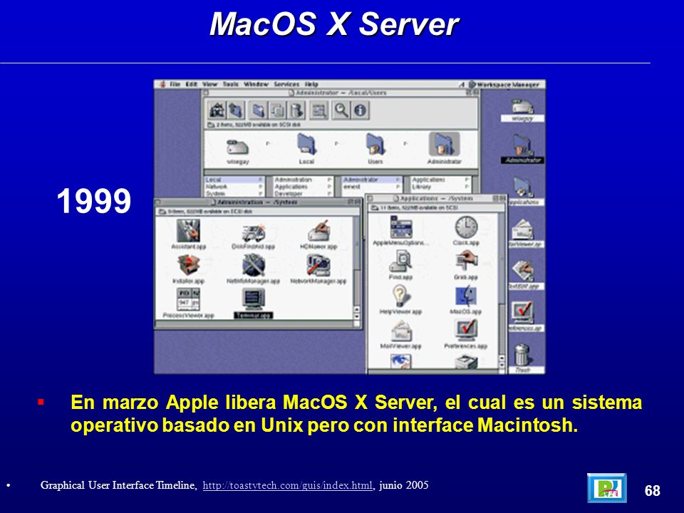 En marzo Apple libera MacOS X Server, el cual es un sistema operativo basado en Unix pero con interface Macintosh. MacOS X Server 68 Graphical User In