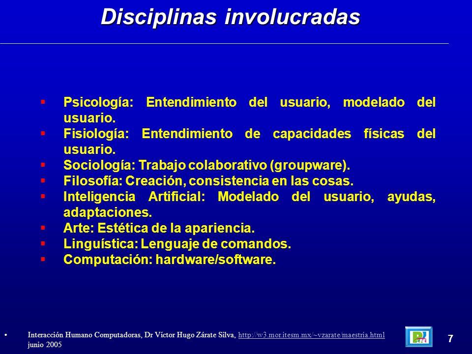 Psicología: Entendimiento del usuario, modelado del usuario. Fisiología: Entendimiento de capacidades físicas del usuario. Sociología: Trabajo colabor