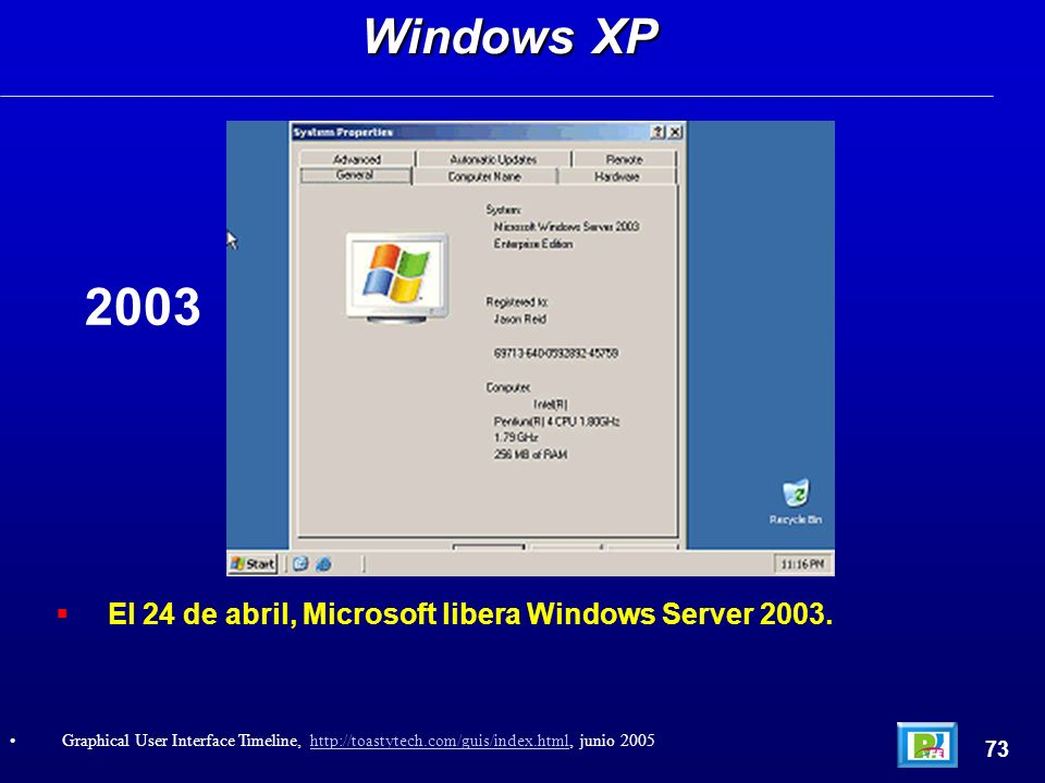 El 24 de abril, Microsoft libera Windows Server 2003. Windows XP 73 Graphical User Interface Timeline, http://toastytech.com/guis/index.html, junio 20
