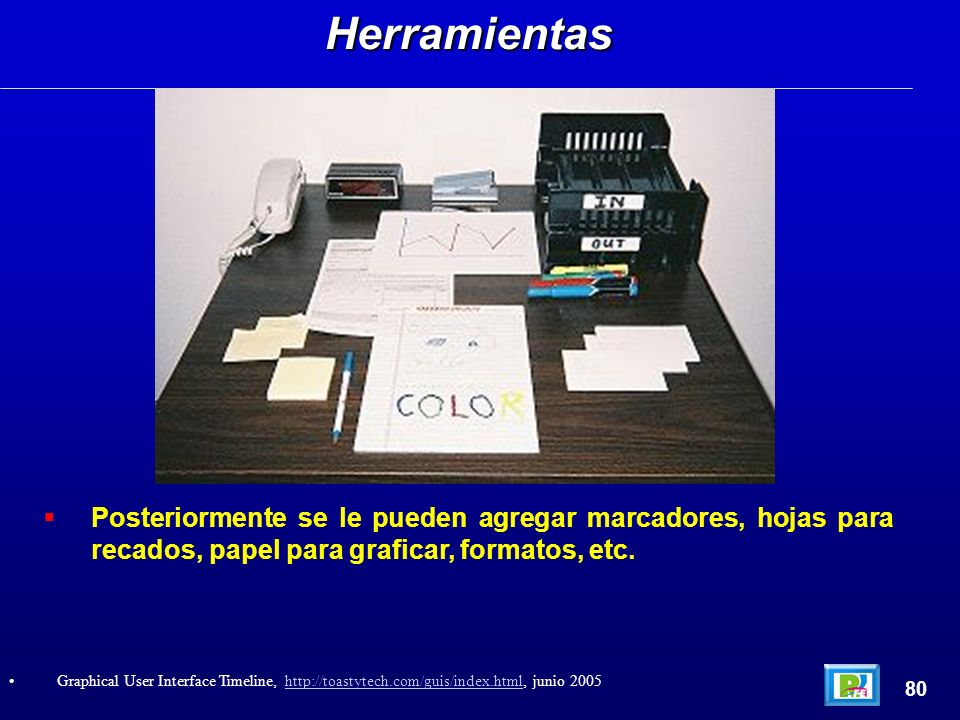 Posteriormente se le pueden agregar marcadores, hojas para recados, papel para graficar, formatos, etc.Herramientas 80 Graphical User Interface Timeline, http://toastytech.com/guis/index.html, junio 2005http://toastytech.com/guis/index.html