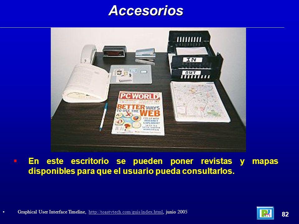 En este escritorio se pueden poner revistas y mapas disponibles para que el usuario pueda consultarlos.Accesorios 82 Graphical User Interface Timeline