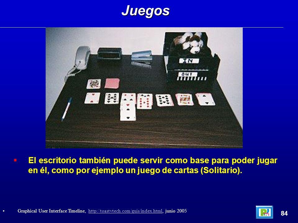 El escritorio también puede servir como base para poder jugar en él, como por ejemplo un juego de cartas (Solitario).Juegos 84 Graphical User Interface Timeline, http://toastytech.com/guis/index.html, junio 2005http://toastytech.com/guis/index.html