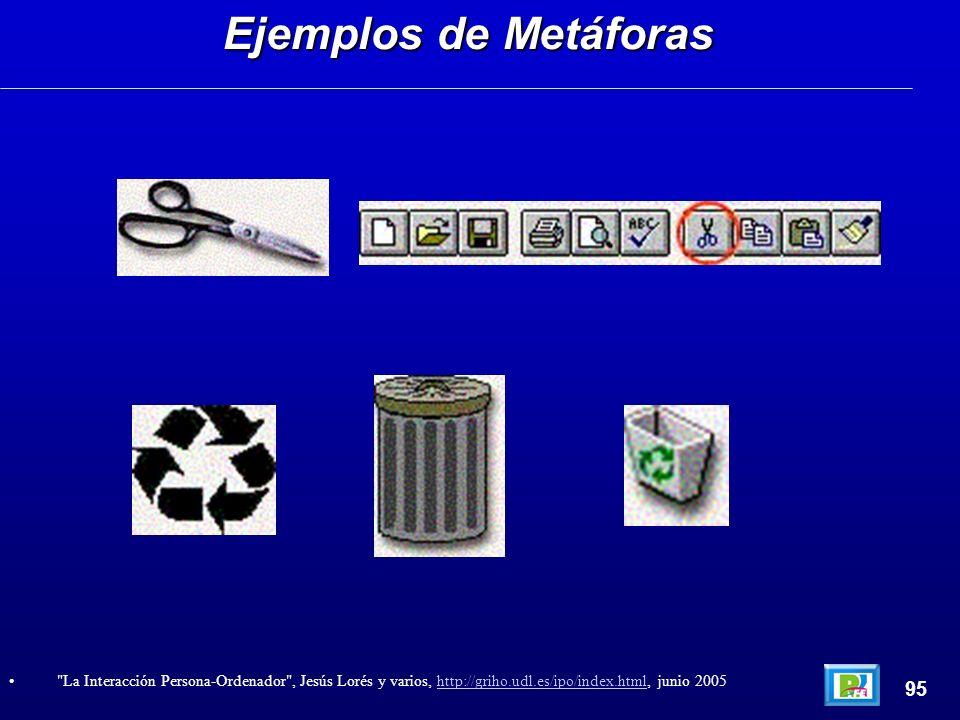 Ejemplos de Metáforas 95 La Interacción Persona-Ordenador , Jesús Lorés y varios, http://griho.udl.es/ipo/index.html, junio 2005http://griho.udl.es/ipo/index.html