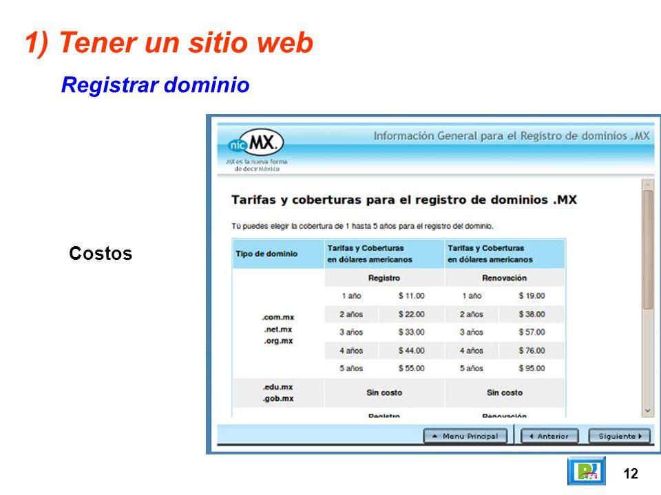 12 1) Tener un sitio web Registrar dominio Costos