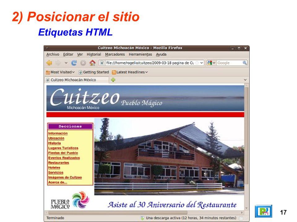 17 2) Posicionar el sitio Etiquetas HTML