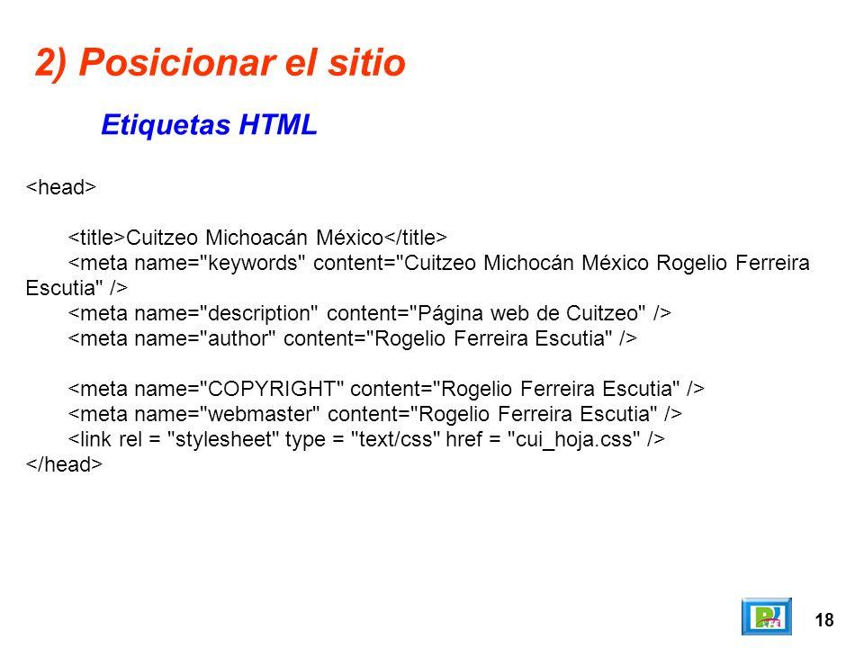 18 2) Posicionar el sitio Etiquetas HTML Cuitzeo Michoacán México