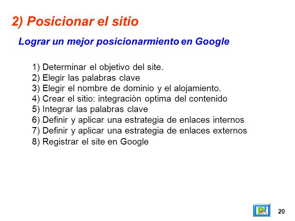 20 2) Posicionar el sitio Lograr un mejor posicionarmiento en Google 1) Determinar el objetivo del site.