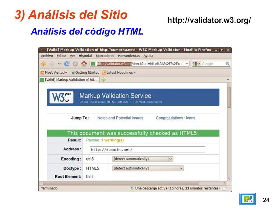 24 3) Análisis del Sitio Análisis del código HTML http://validator.w3.org/