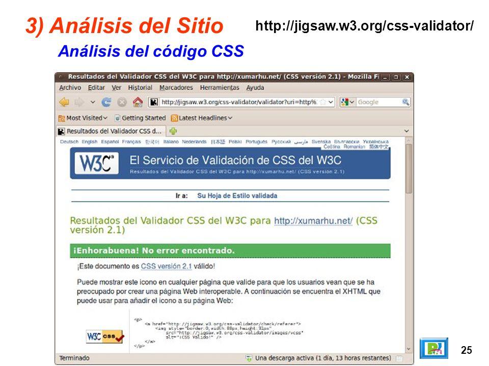 25 3) Análisis del Sitio Análisis del código CSS http://jigsaw.w3.org/css-validator/