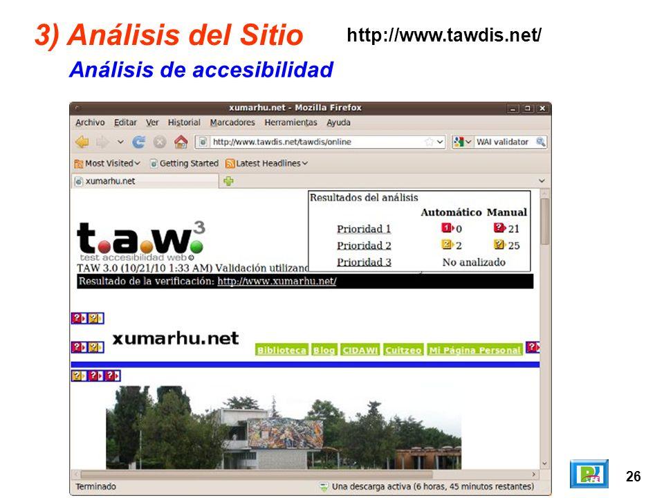 26 3) Análisis del Sitio Análisis de accesibilidad http://www.tawdis.net/